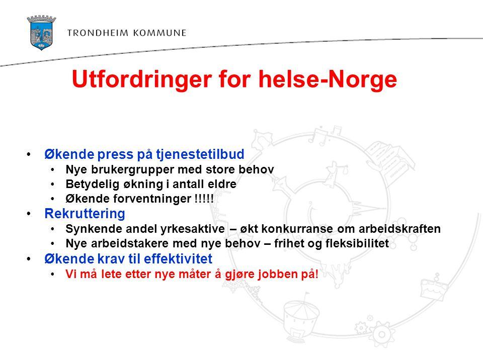 Utfordringer for helse-Norge •Økende press på tjenestetilbud •Nye brukergrupper med store behov •Betydelig økning i antall eldre •Økende forventninger