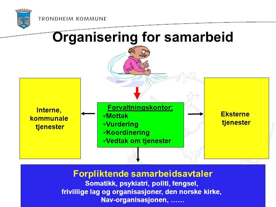 Organisering for samarbeid Forvaltningskontor;  Mottak  Vurdering  Koordinering  Vedtak om tjenester Interne, kommunale tjenester Eksterne tjenest
