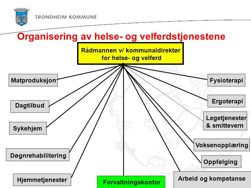 Organisering av helse- og velferdstjenestene Rådmannen v/ kommunaldirektør for helse- og velferd Arbeid og kompetanse Forvaltningskontor Legetjenester