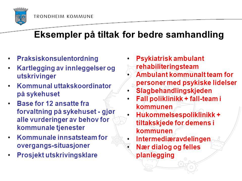 Eksempler på tiltak for bedre samhandling •Praksiskonsulentordning •Kartlegging av innleggelser og utskrivinger •Kommunal uttakskoordinator på sykehus