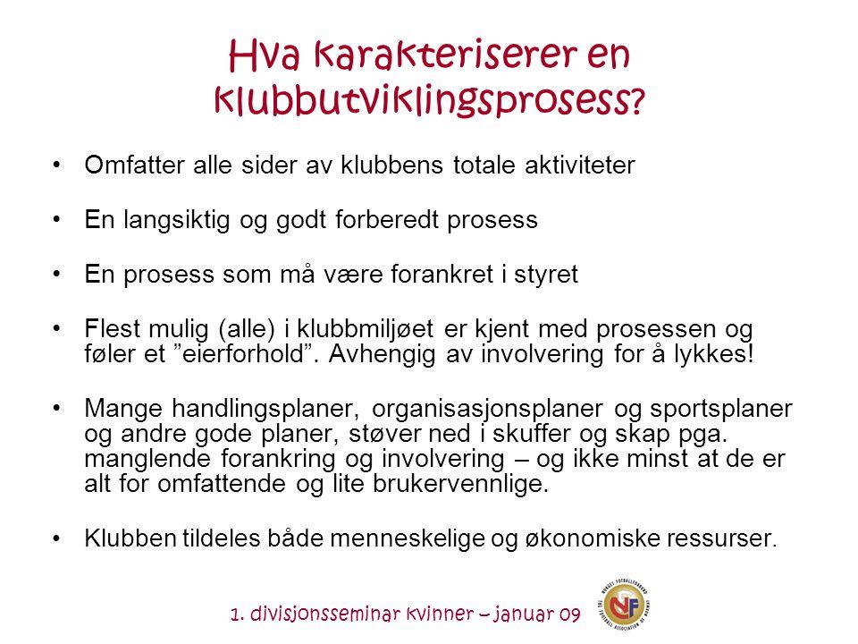 1. divisjonsseminar kvinner – januar 09 Hva karakteriserer en klubbutviklingsprosess.