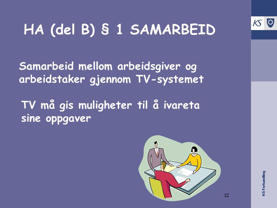KS Forhandling HA (del B) § 1 SAMARBEID Samarbeid mellom arbeidsgiver og arbeidstaker gjennom TV-systemet TV må gis muligheter til å ivareta sine oppgaver 12