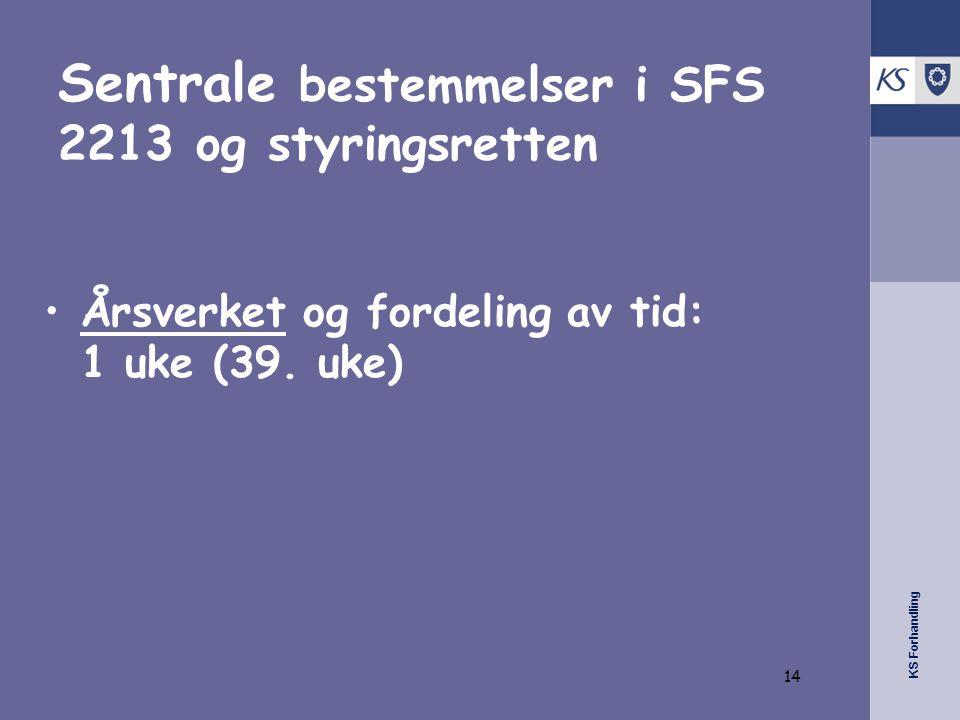 KS Forhandling Sentrale bestemmelser i SFS 2213 og styringsretten •Årsverket og fordeling av tid: 1 uke (39. uke) 14
