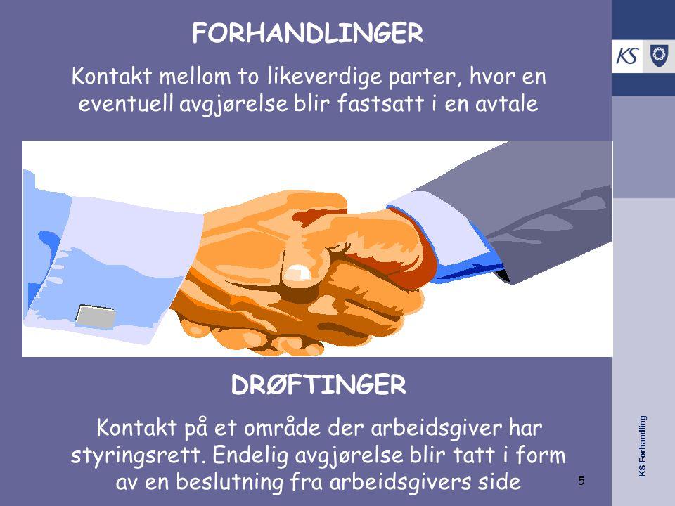 KS Forhandling FORHANDLINGER Kontakt mellom to likeverdige parter, hvor en eventuell avgjørelse blir fastsatt i en avtale DRØFTINGER Kontakt på et område der arbeidsgiver har styringsrett.