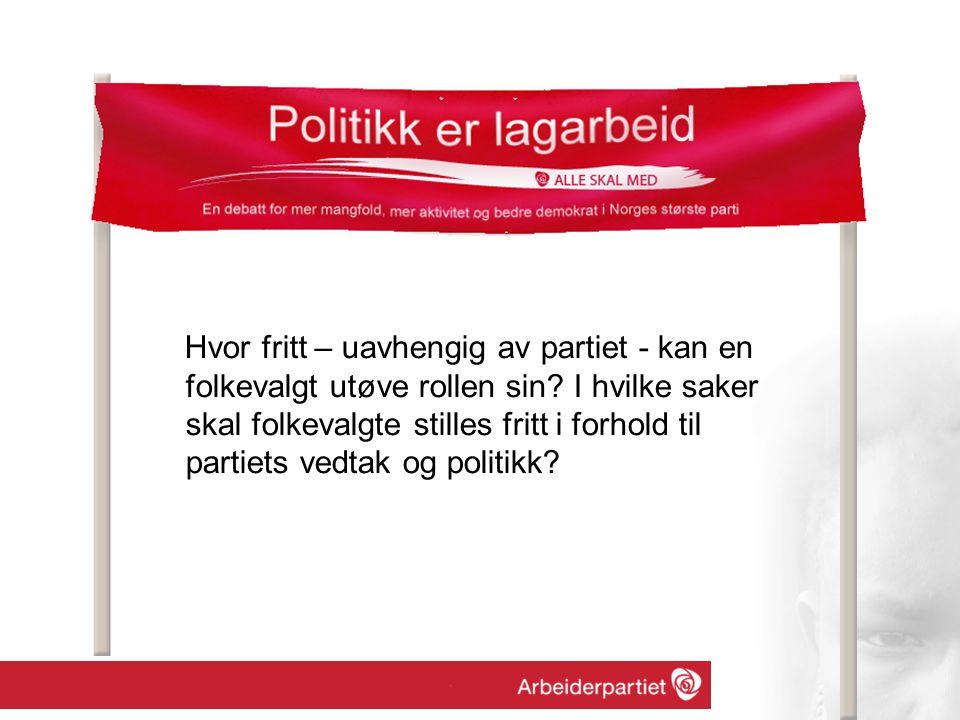 Hvor fritt – uavhengig av partiet - kan en folkevalgt utøve rollen sin.