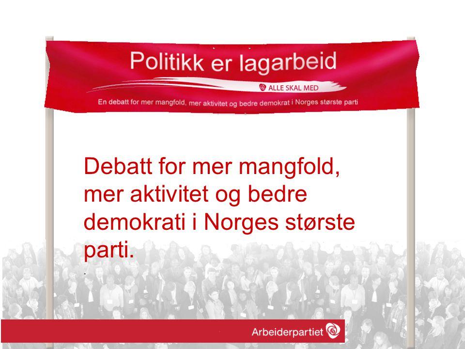 Debatt for mer mangfold, mer aktivitet og bedre demokrati i Norges største parti..