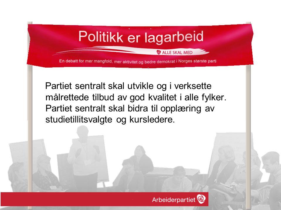 Partiet sentralt skal utvikle og i verksette målrettede tilbud av god kvalitet i alle fylker.