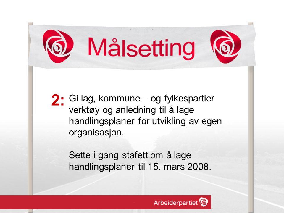 Gi lag, kommune – og fylkespartier verktøy og anledning til å lage handlingsplaner for utvikling av egen organisasjon.