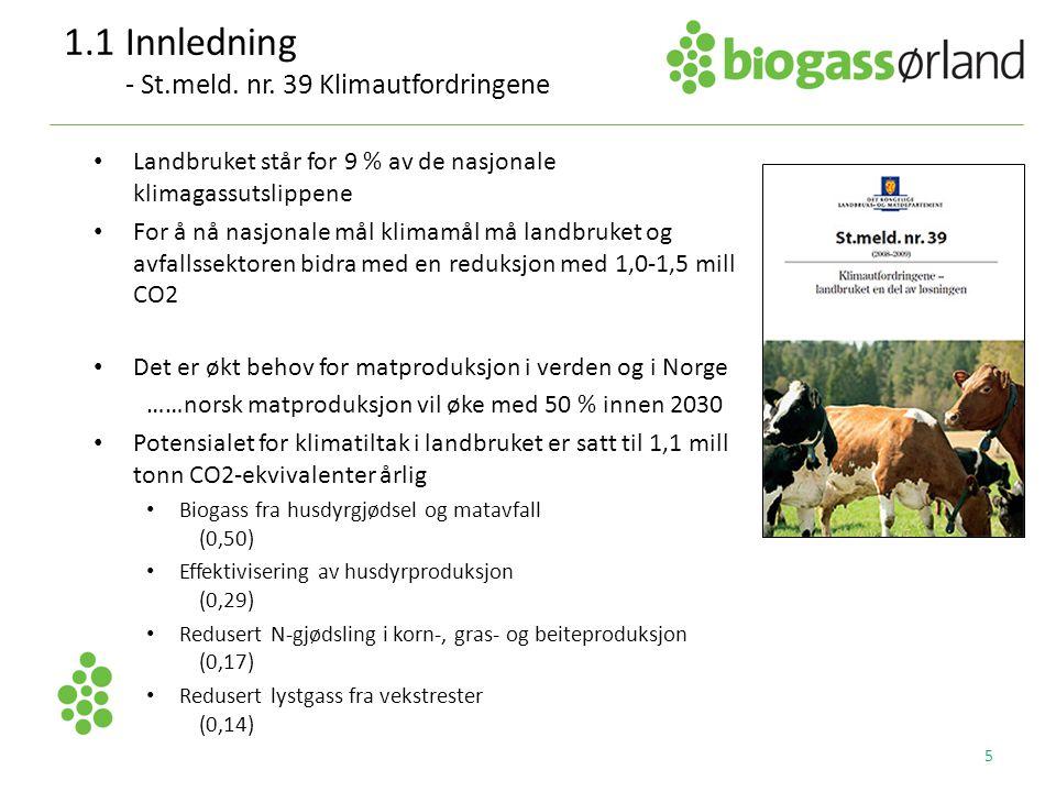 1.1Innledning - St.meld. nr. 39 Klimautfordringene • Landbruket står for 9 % av de nasjonale klimagassutslippene • For å nå nasjonale mål klimamål må