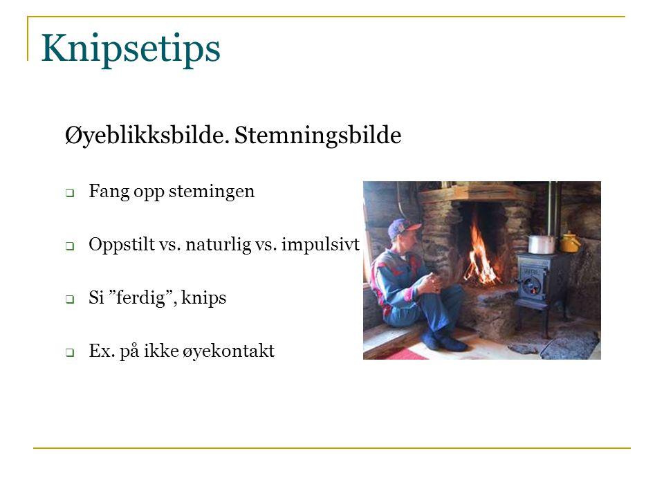 Knipsetips Gå nærmere motivet - fyll søkeren  Konsentrer deg om det du vil fortelle  Se fig.7.5-6 i boka s.63  Ref.