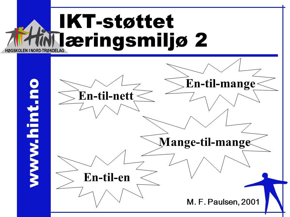 www.hint.no IKT-støttet læringsmiljø 2 En-til-nett En-til-en En-til-mange Mange-til-mange M.