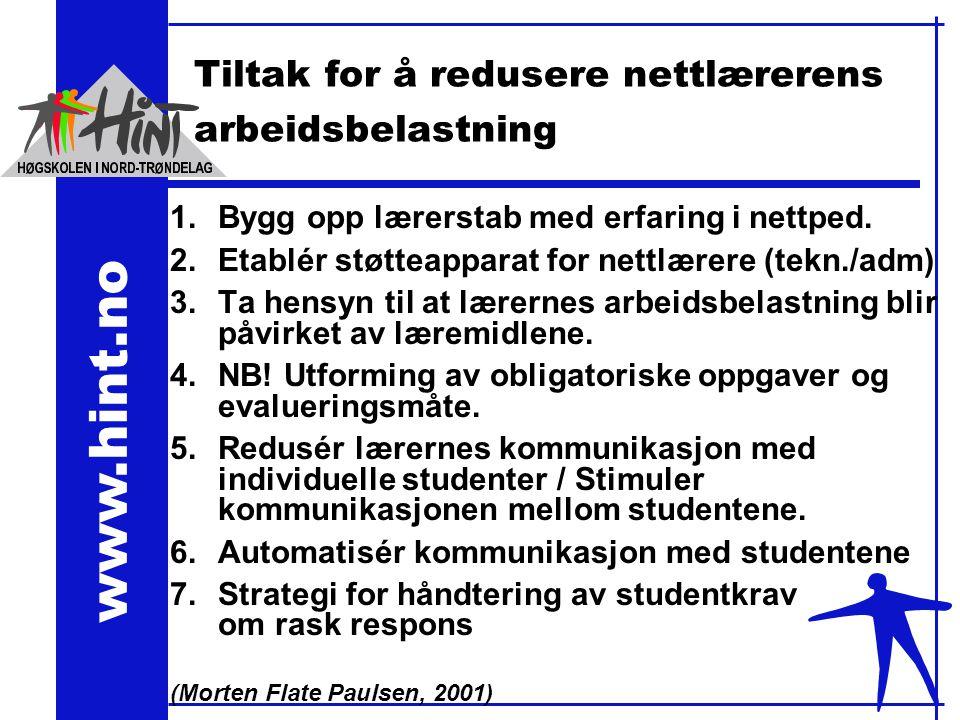 www.hint.no Tiltak for å redusere nettlærerens arbeidsbelastning 1.Bygg opp lærerstab med erfaring i nettped.