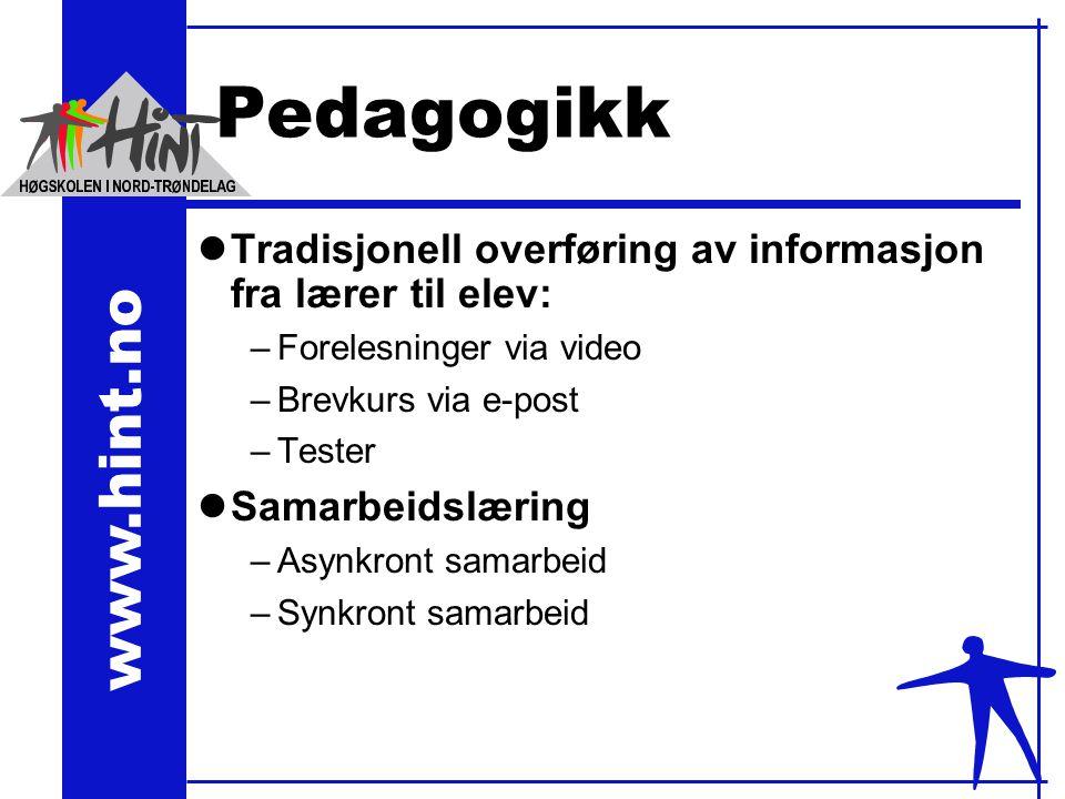 www.hint.no Pedagogikk lTradisjonell overføring av informasjon fra lærer til elev: –Forelesninger via video –Brevkurs via e-post –Tester lSamarbeidslæring –Asynkront samarbeid –Synkront samarbeid