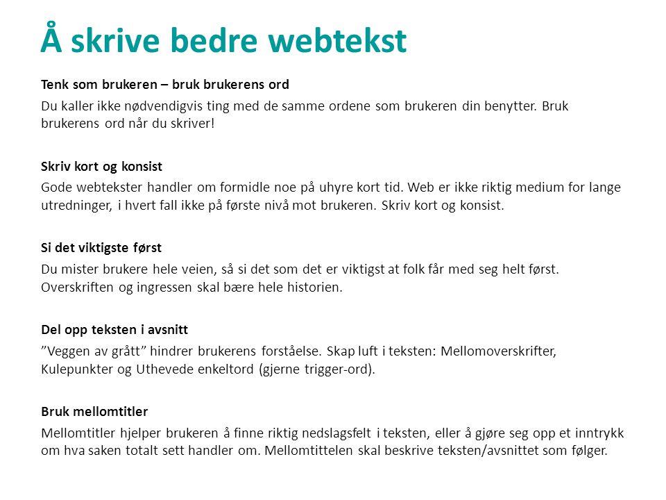 Triggerord • Triggerordet beskriver det brukeren leter etter på nettstedet.