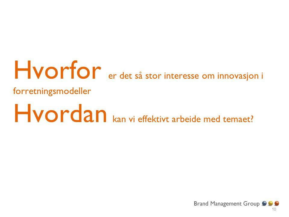 Hvorfor er det så stor interesse om innovasjon i forretningsmodeller Hvordan kan vi effektivt arbeide med temaet? 10