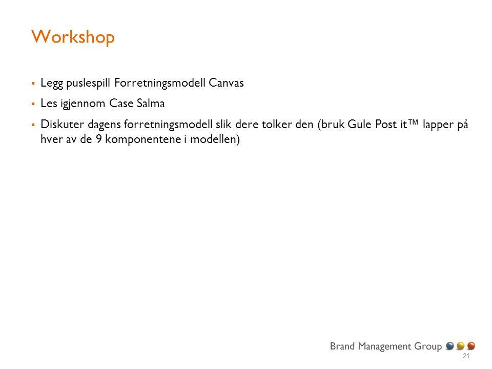 Workshop  Legg puslespill Forretningsmodell Canvas  Les igjennom Case Salma  Diskuter dagens forretningsmodell slik dere tolker den (bruk Gule Post