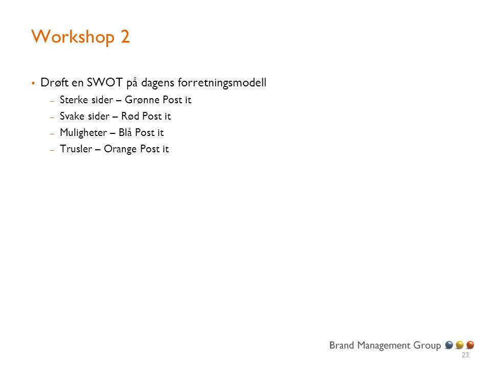 Workshop 2  Drøft en SWOT på dagens forretningsmodell – Sterke sider – Grønne Post it – Svake sider – Rød Post it – Muligheter – Blå Post it – Trusle