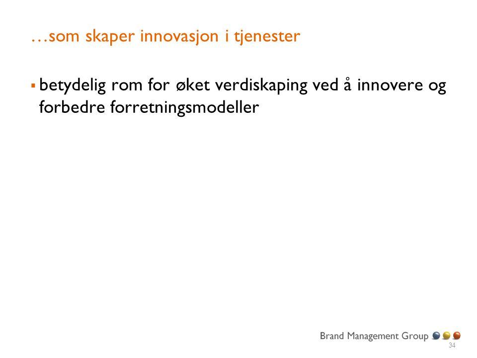 …som skaper innovasjon i tjenester  betydelig rom for øket verdiskaping ved å innovere og forbedre forretningsmodeller 34