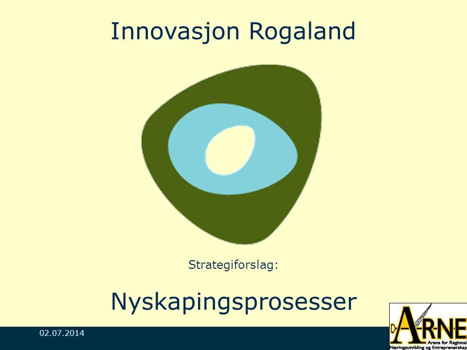 02.07.2014 Innovasjon Rogaland Strategiforslag: Nyskapingsprosesser