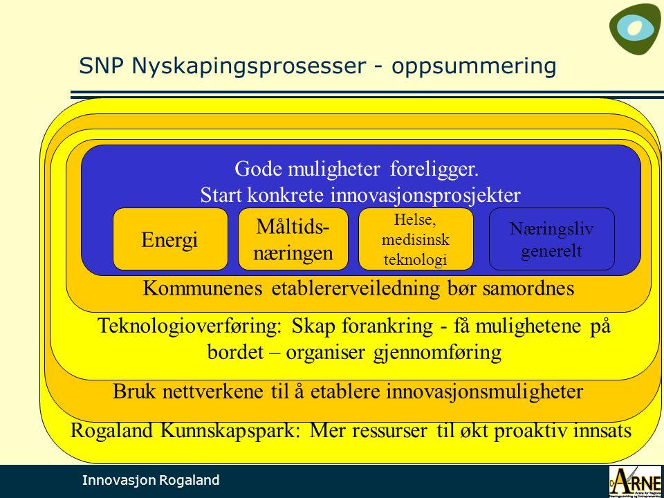 Innovasjon Rogaland Rogaland Kunnskapspark: Mer ressurser til økt proaktiv innsats Bruk nettverkene til å etablere innovasjonsmuligheter Teknologiover
