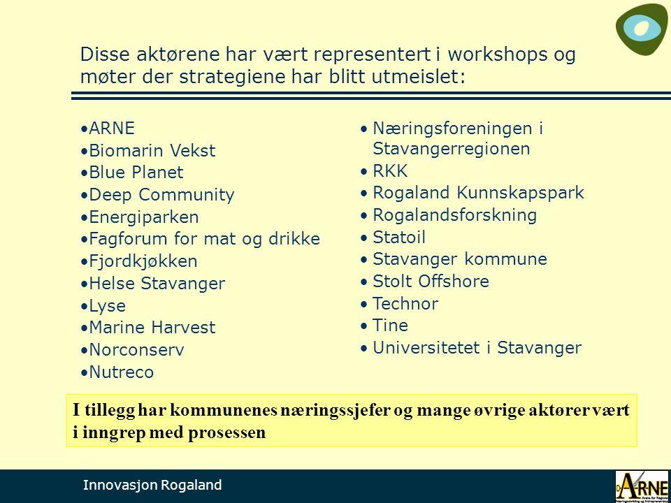 Innovasjon Rogaland Disse aktørene har vært representert i workshops og møter der strategiene har blitt utmeislet: •Næringsforeningen i Stavangerregio