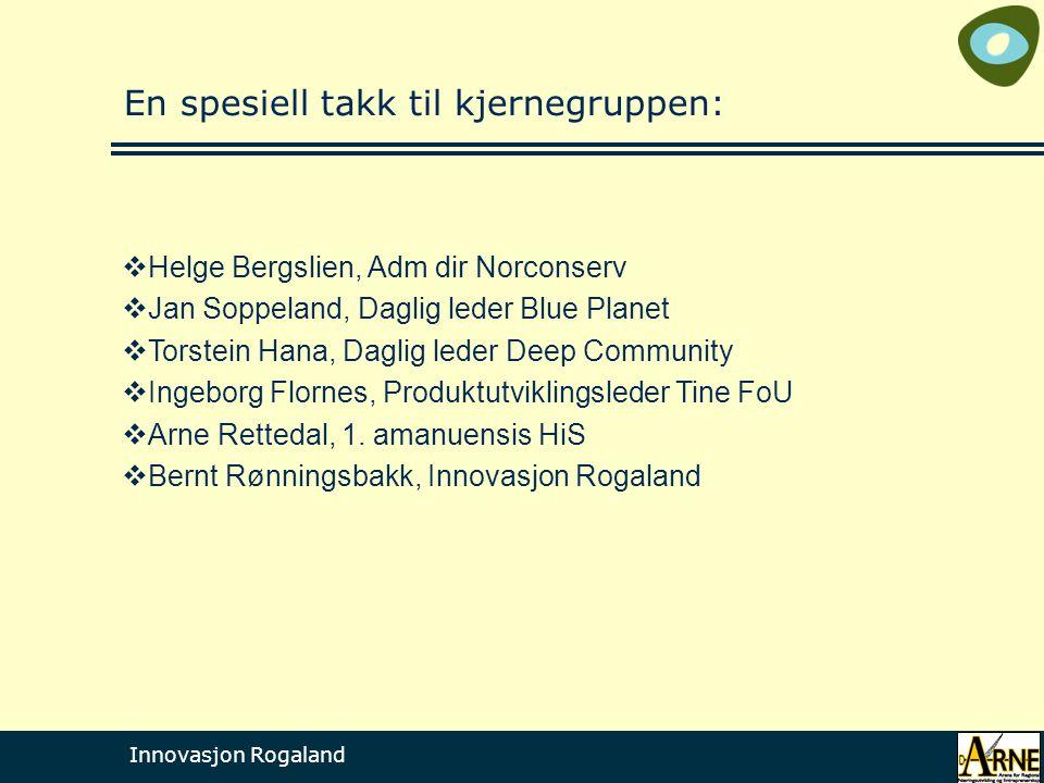 Innovasjon Rogaland En spesiell takk til kjernegruppen:  Helge Bergslien, Adm dir Norconserv  Jan Soppeland, Daglig leder Blue Planet  Torstein Han