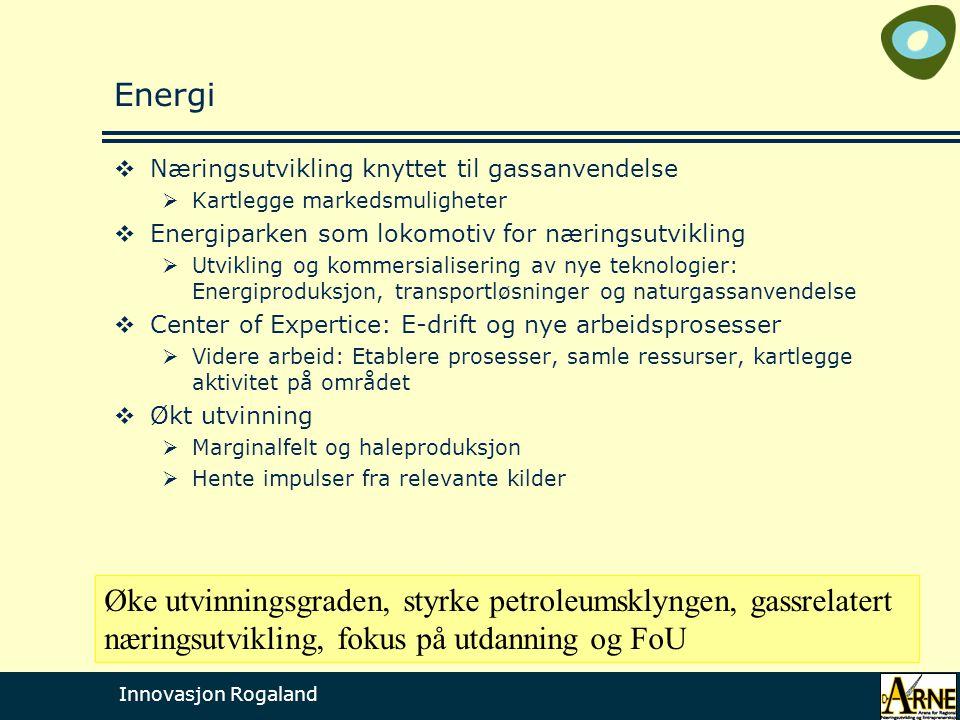 Innovasjon Rogaland Energi  Næringsutvikling knyttet til gassanvendelse  Kartlegge markedsmuligheter  Energiparken som lokomotiv for næringsutvikli