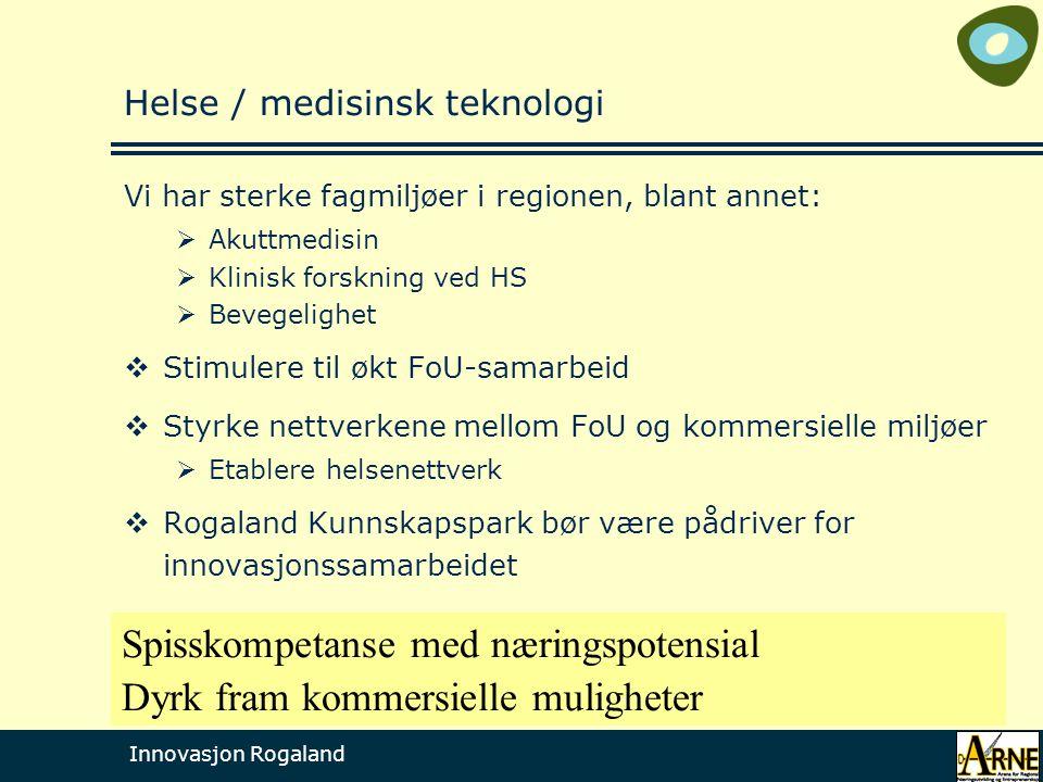 Innovasjon Rogaland Helse / medisinsk teknologi Vi har sterke fagmiljøer i regionen, blant annet:  Akuttmedisin  Klinisk forskning ved HS  Bevegeli