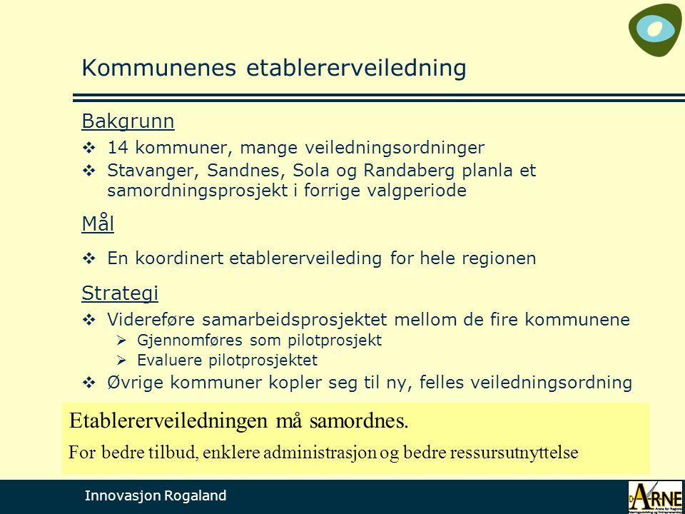 Innovasjon Rogaland Kommunenes etablererveiledning Bakgrunn  14 kommuner, mange veiledningsordninger  Stavanger, Sandnes, Sola og Randaberg planla et samordningsprosjekt i forrige valgperiode Mål  En koordinert etablererveileding for hele regionen Strategi  Videreføre samarbeidsprosjektet mellom de fire kommunene  Gjennomføres som pilotprosjekt  Evaluere pilotprosjektet  Øvrige kommuner kopler seg til ny, felles veiledningsordning Etablererveiledningen må samordnes.