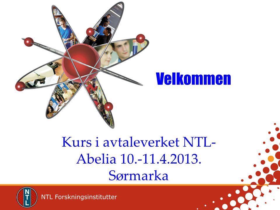 Velkommen Kurs i avtaleverket NTL- Abelia 10.-11.4.2013. Sørmarka