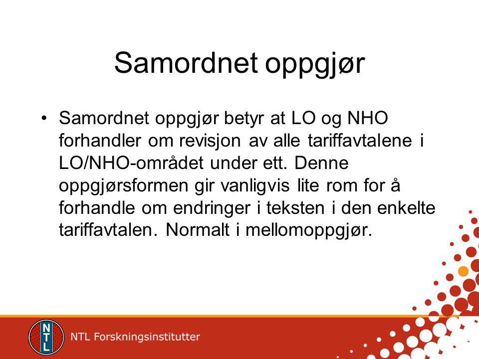 Samordnet oppgjør •Samordnet oppgjør betyr at LO og NHO forhandler om revisjon av alle tariffavtalene i LO/NHO-området under ett. Denne oppgjørsformen