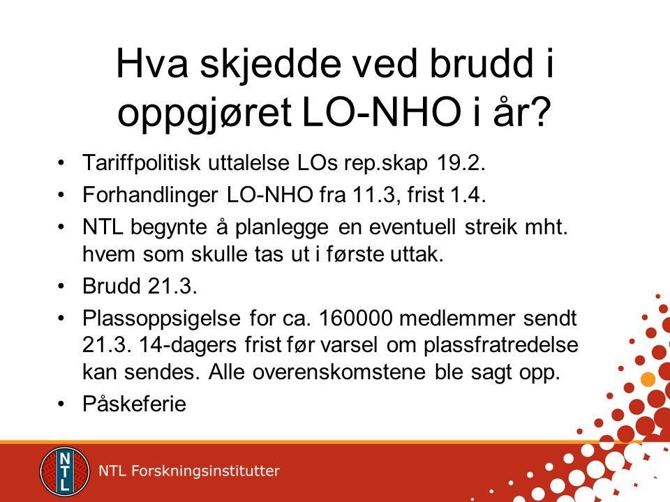 Hva skjedde ved brudd i oppgjøret LO-NHO i år? •Tariffpolitisk uttalelse LOs rep.skap 19.2. •Forhandlinger LO-NHO fra 11.3, frist 1.4. •NTL begynte å