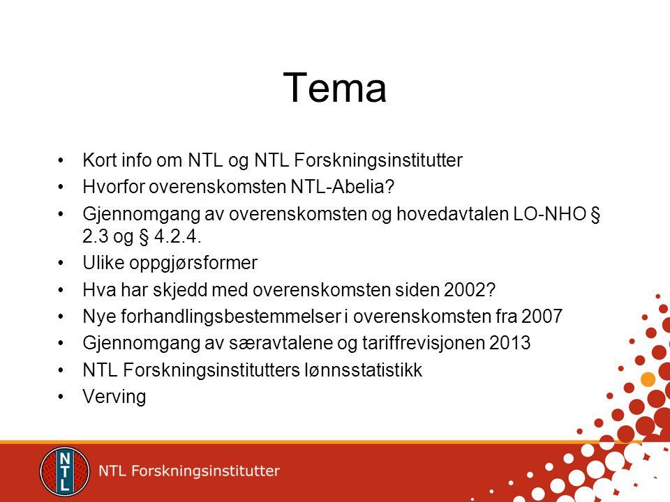 Tema •Kort info om NTL og NTL Forskningsinstitutter •Hvorfor overenskomsten NTL-Abelia? •Gjennomgang av overenskomsten og hovedavtalen LO-NHO § 2.3 og