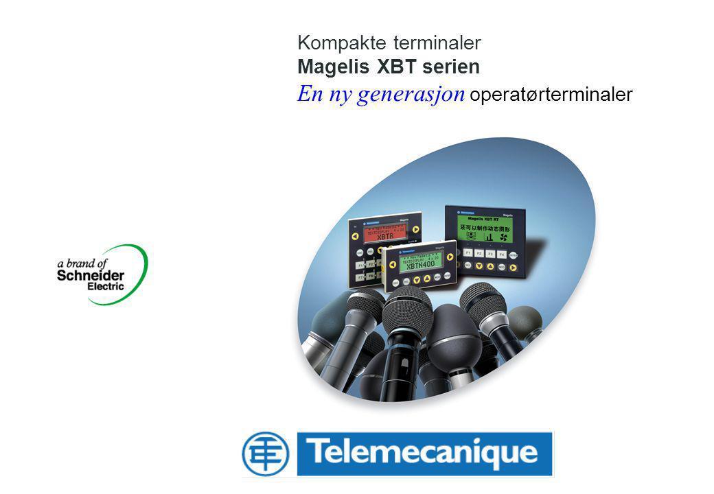 Schneider Electric Norge AS – XBTN_R_RT_2007_n.ppt 12 Magelis XBT RT Velgerguide Display teknologi Display størrelse Taster 12 funksjons taster Bagrunnsbelysning LED (grønn) Strømforsyning 5 VDC Serie port 1*RJ45 (RS485 og RS232C PC programvare Vijeo Designer Lite for Windows 2000 / XP Monokrom LCD 3,9 / 90*40mm 198*80 punkter XBT RT500 Protokoller Modbus master/UniTE (punkt til punkt) Tilbehør Adapter for 5V strømforsyning: XBTZRTPW Kommunikasjonskabel til Twido: XBTZ9780 Kommunikasjonskabel til M340: XBTZ9980