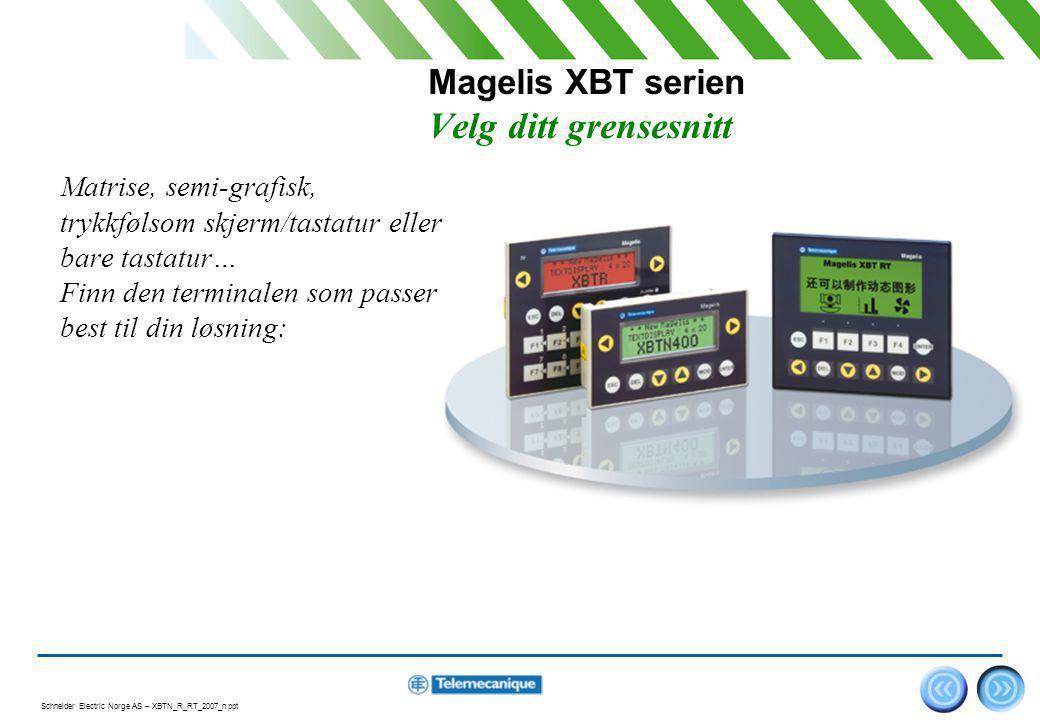 Schneider Electric Norge AS – XBTN_R_RT_2007_n.ppt 3 Magelis XBT N, R For enkel kommunikasjon...