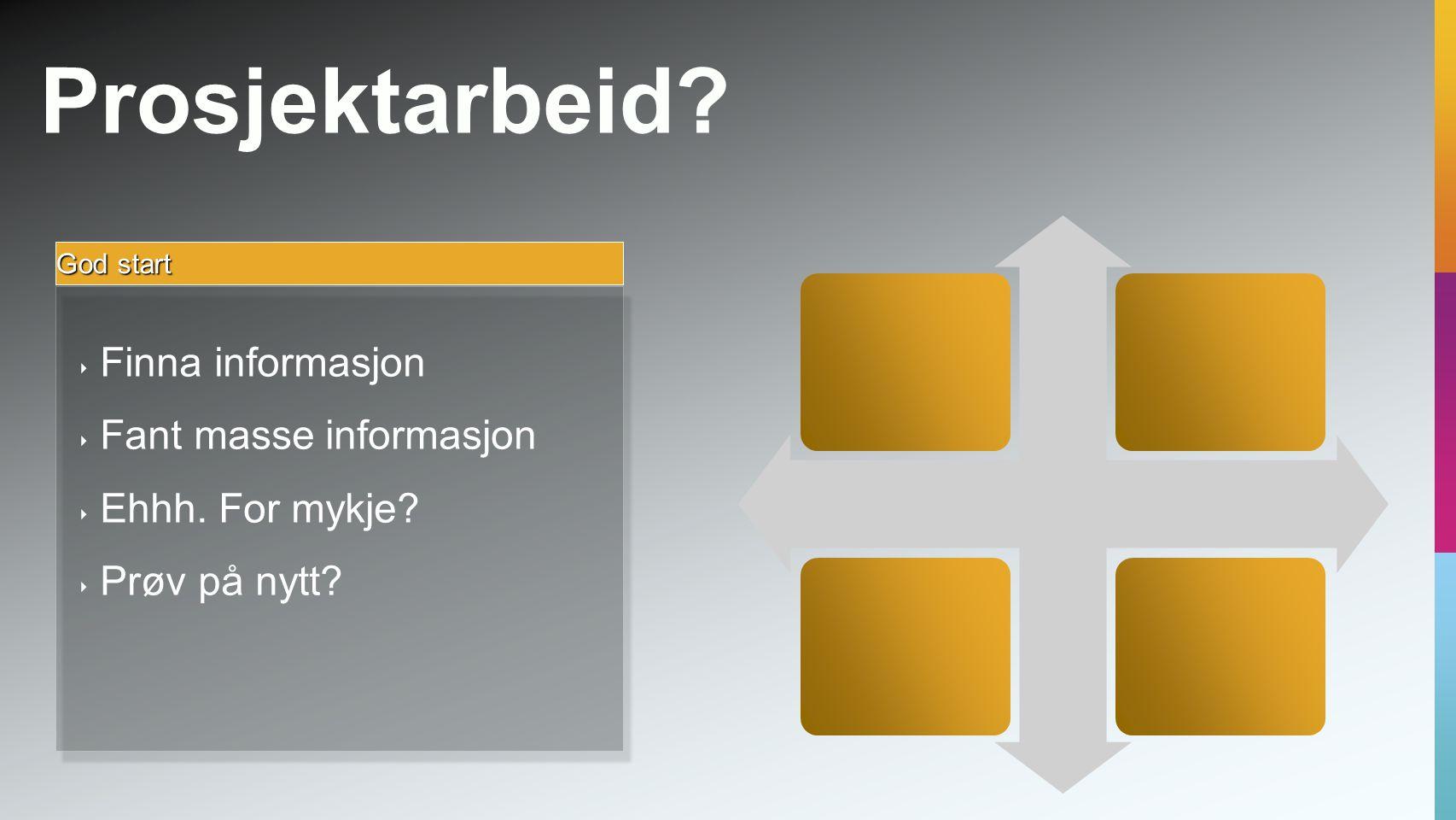 Prosjektarbeid. God start ‣ Finna informasjon ‣ Fant masse informasjon ‣ Ehhh.