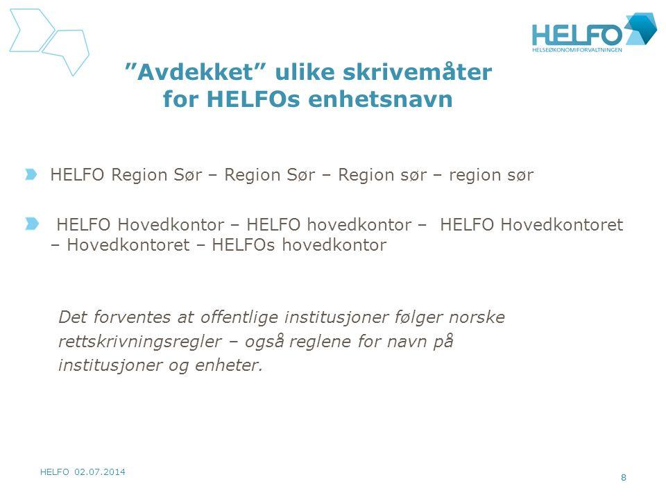 HELFO 02.07.2014 8 Avdekket ulike skrivemåter for HELFOs enhetsnavn HELFO Region Sør – Region Sør – Region sør – region sør HELFO Hovedkontor – HELFO hovedkontor – HELFO Hovedkontoret – Hovedkontoret – HELFOs hovedkontor Det forventes at offentlige institusjoner følger norske rettskrivningsregler – også reglene for navn på institusjoner og enheter.