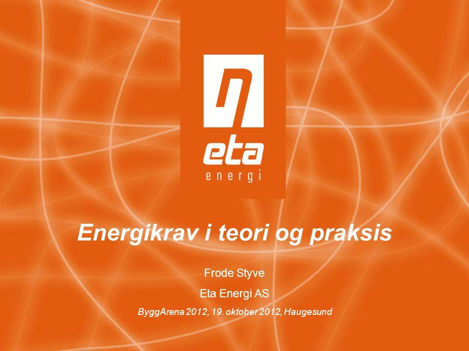 Energikrav i teori og praksis Frode Styve Eta Energi AS ByggArena 2012, 19. oktober 2012, Haugesund
