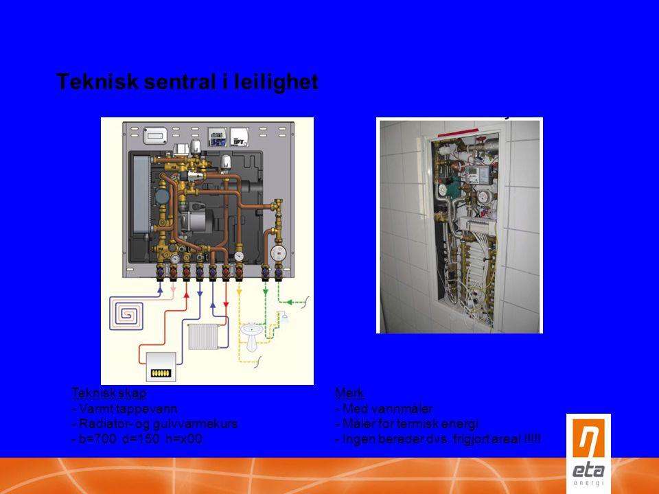 Teknisk sentral i leilighet Teknisk skapMerk - Varmt tappevann- Med vannmåler - Radiator- og gulvvarmekurs- Måler for termisk energi - b=700 d=150 h=x