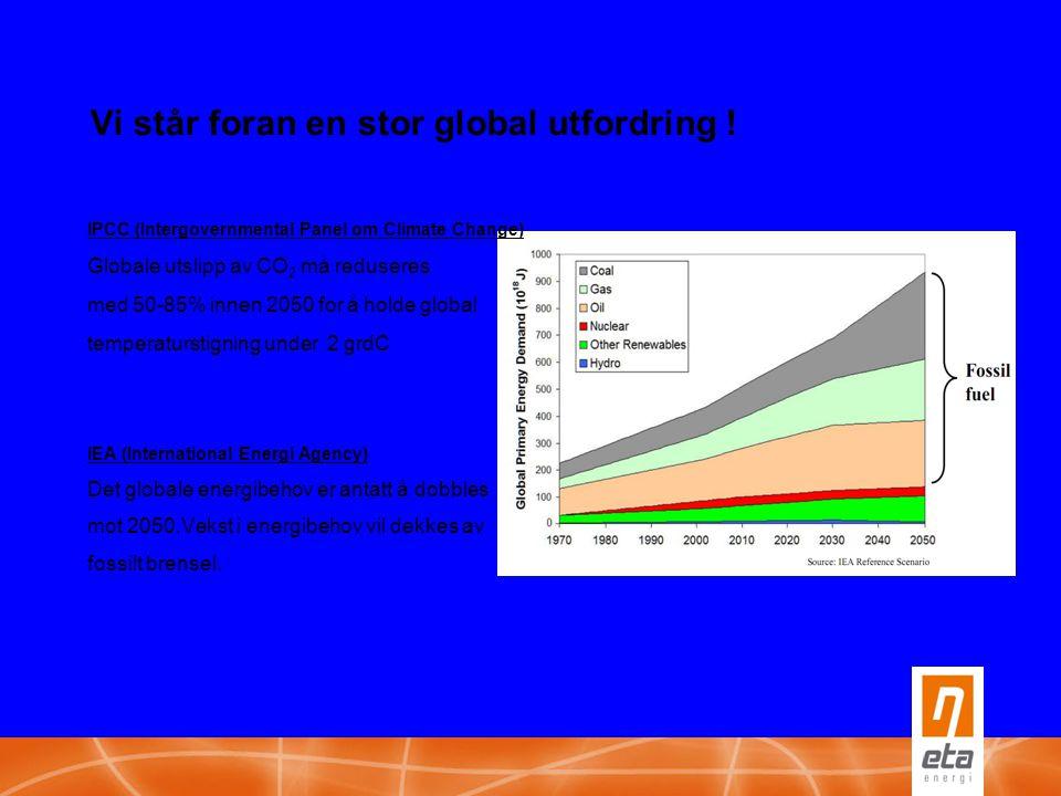 Vi står foran en stor global utfordring ! IPCC (Intergovernmental Panel om Climate Change) Globale utslipp av CO 2 må reduseres med 50-85% innen 2050