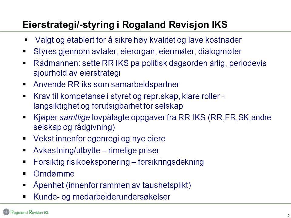 Eierstrategi/-styring i Rogaland Revisjon IKS  Valgt og etablert for å sikre høy kvalitet og lave kostnader  Styres gjennom avtaler, eierorgan, eier
