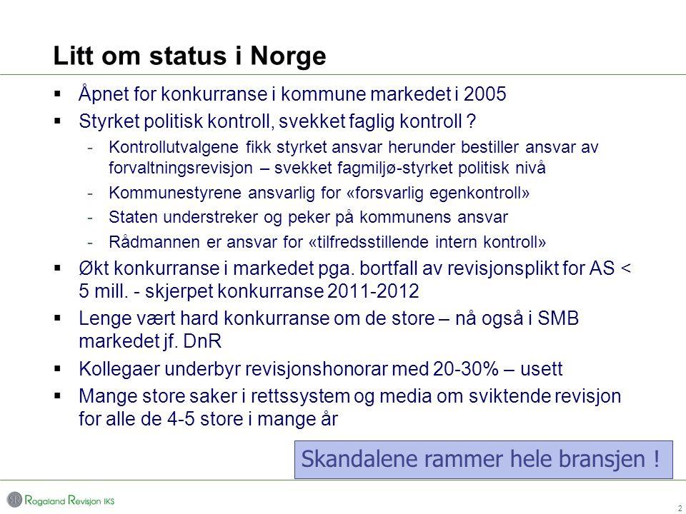 Litt om status i Norge  Åpnet for konkurranse i kommune markedet i 2005  Styrket politisk kontroll, svekket faglig kontroll ? -Kontrollutvalgene fik