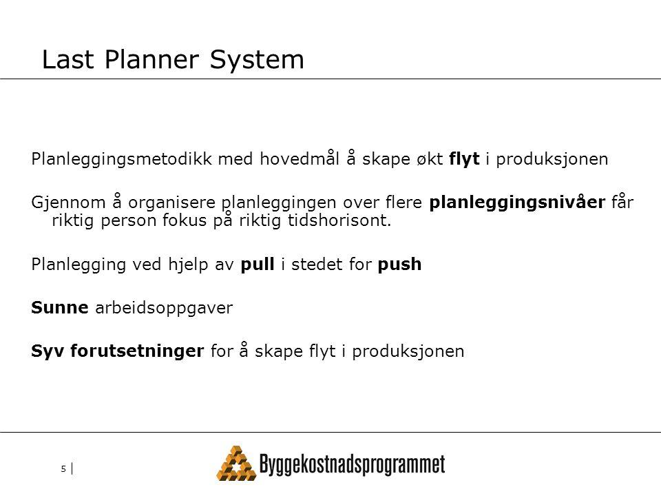 5 Last Planner System Planleggingsmetodikk med hovedmål å skape økt flyt i produksjonen Gjennom å organisere planleggingen over flere planleggingsnivåer får riktig person fokus på riktig tidshorisont.