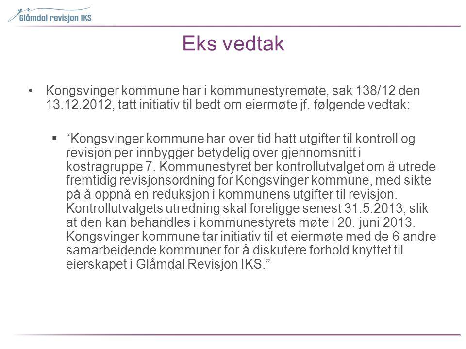 """Eks vedtak •Kongsvinger kommune har i kommunestyremøte, sak 138/12 den 13.12.2012, tatt initiativ til bedt om eiermøte jf. følgende vedtak:  """"Kongsvi"""