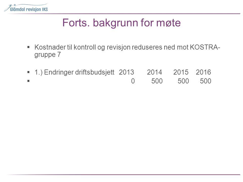 Forts. bakgrunn for møte  Kostnader til kontroll og revisjon reduseres ned mot KOSTRA- gruppe 7  1.) Endringer driftsbudsjett 2013 2014 2015 2016 