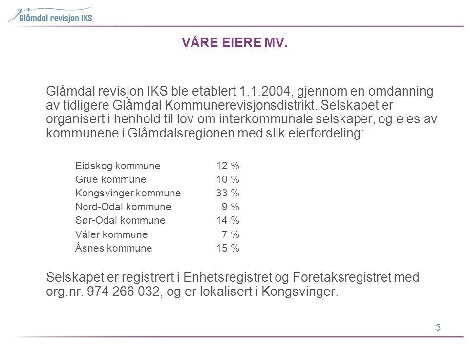 VÅRE EIERE MV. Glåmdal revisjon IKS ble etablert 1.1.2004, gjennom en omdanning av tidligere Glåmdal Kommunerevisjonsdistrikt. Selskapet er organisert