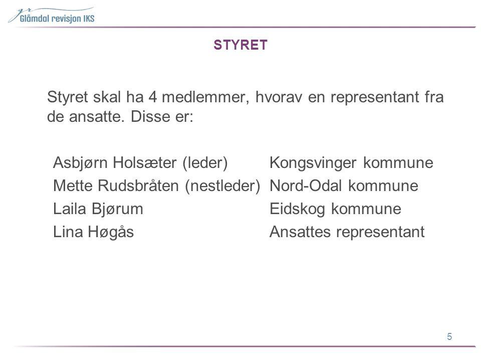STYRET Styret skal ha 4 medlemmer, hvorav en representant fra de ansatte. Disse er: Asbjørn Holsæter (leder)Kongsvinger kommune Mette Rudsbråten (nest