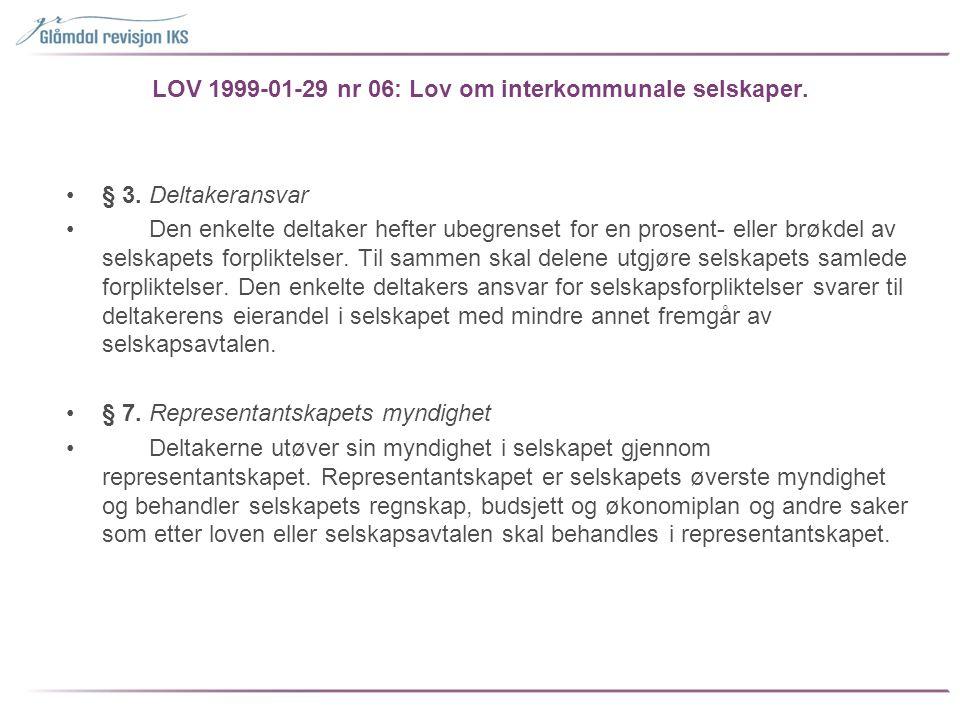 LOV 1999-01-29 nr 06: Lov om interkommunale selskaper. •§ 3. Deltakeransvar • Den enkelte deltaker hefter ubegrenset for en prosent- eller brøkdel av