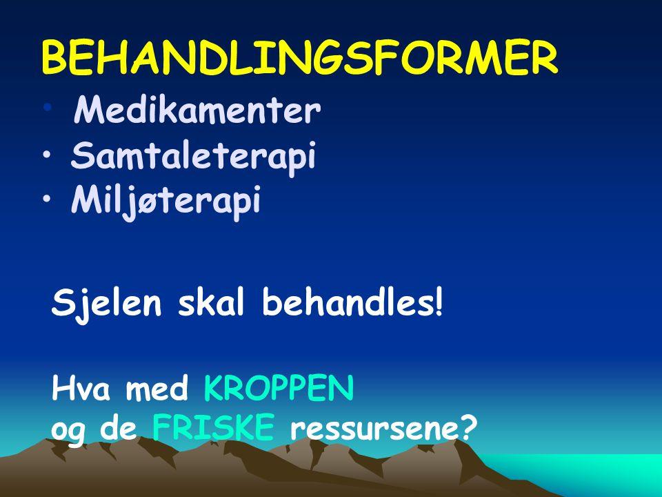 BEHANDLINGSFORMER • Medikamenter • Samtaleterapi • Miljøterapi Sjelen skal behandles.