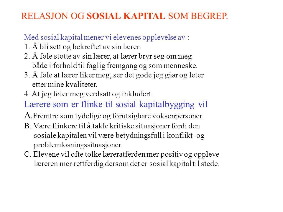 RELASJON OG SOSIAL KAPITAL SOM BEGREP.Med sosial kapital mener vi elevenes opplevelse av : 1.